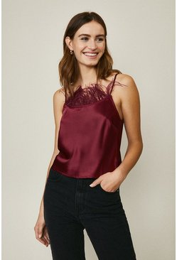 Maroon Feather Trim Cami Top