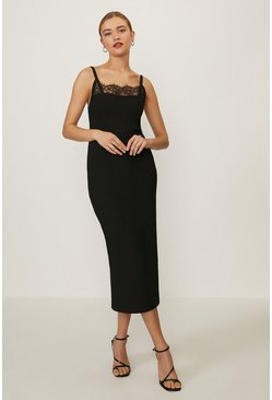 Black Lace Trimmed Pencil Dress