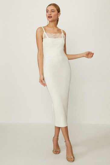 Ivory Lace Trimmed Pencil Dress