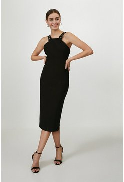 Black Halterneck Panelled Midi Dress