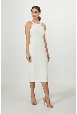 Ivory Halterneck Panelled Midi Dress