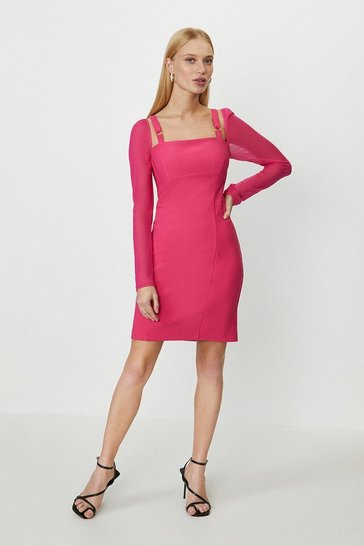 Hot pink Mesh Long Sleeve Mini Dress