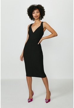 Black Ruche Detail Midi Dress