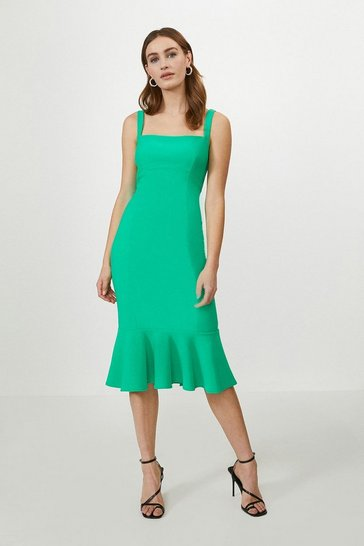 Emerald Peplum Hem Bodycon Midi Dress