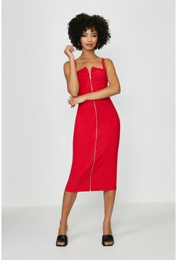 Red Bodycon Exposed Zip Midi Dress