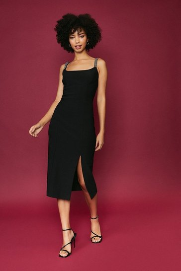 Black Jewel Trim Midi Bodycon