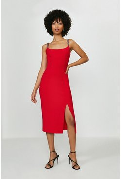Red Jewel Trim Midi Bodycon