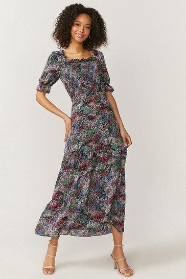 Multi Shirred Bodice Puff Sleeve Maxi Dress