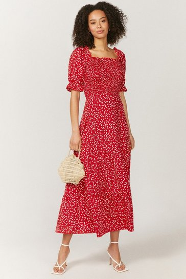 Red Shirred Bodice Puff Sleeve Maxi Dress