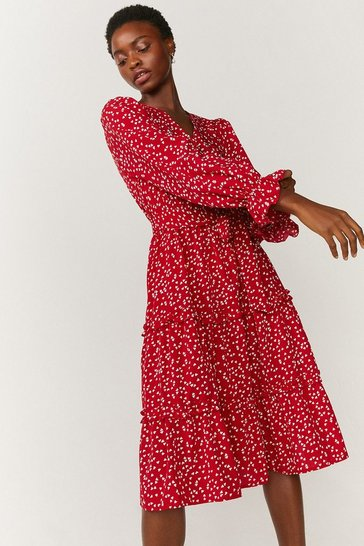 Red Ruffle Tier Wrap Dress