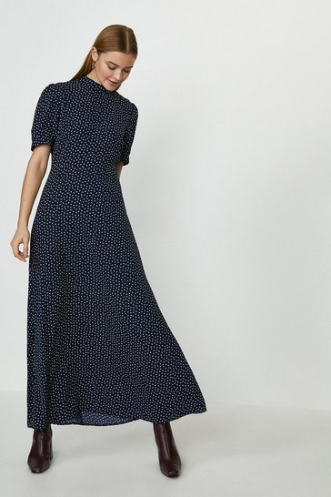 Navy Open Back Maxi Tea Dress