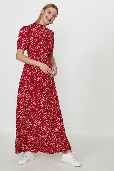 Red Open Back Maxi Tea Dress