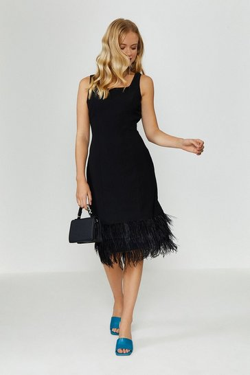 Black Feather Hem Square Neck Dress