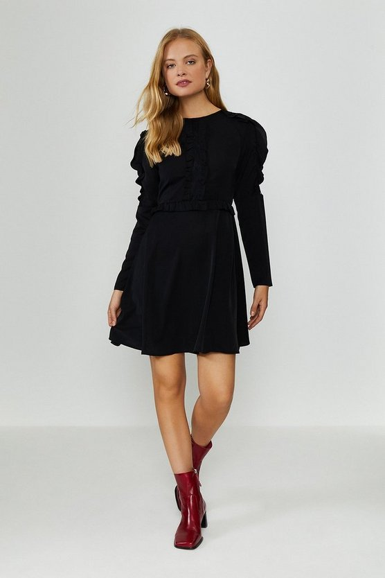 Black Ruffle Long Sleeve Dress