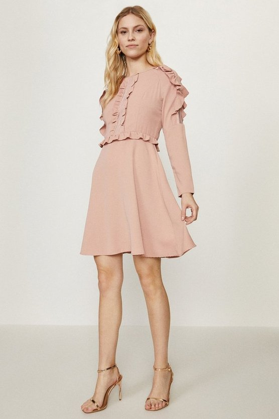 Blush Ruffle Long Sleeve Dress