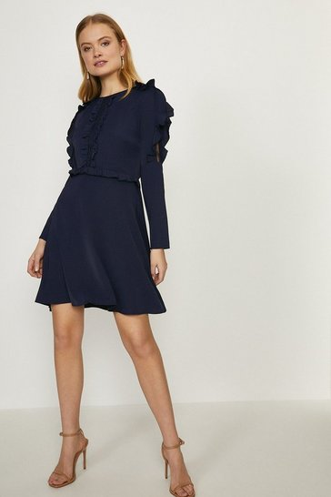 Navy Ruffle Long Sleeve Dress