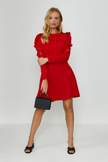 Red Ruffle Long Sleeve Dress