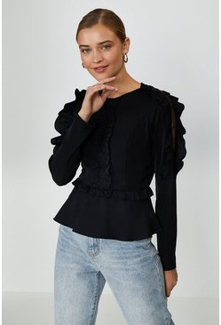 Black Ruffle Long Sleeve Top