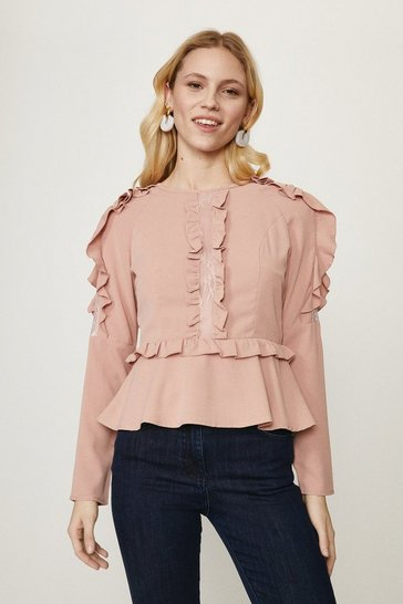 Blush Ruffle Long Sleeve Top