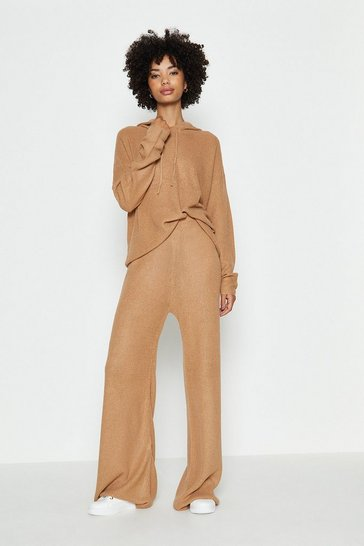 Camel Knitted Hoody And Wide Leg Lounge Set