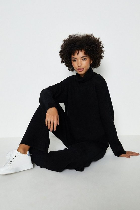 Black Roll Neck And Wide Leg Knitted Lounge Set