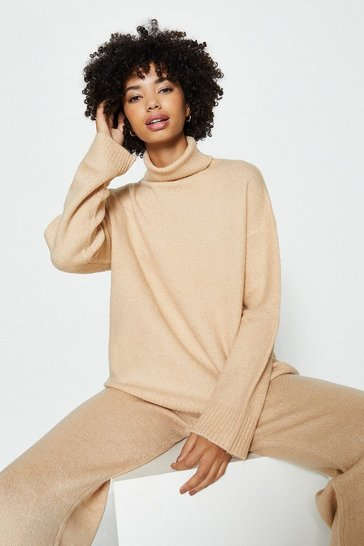 Sand Roll Neck And Wide Leg Knitted Lounge Set