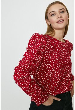 Red Ruche Sleeve Shell Top