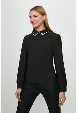 Black Lace Collar Detail Top
