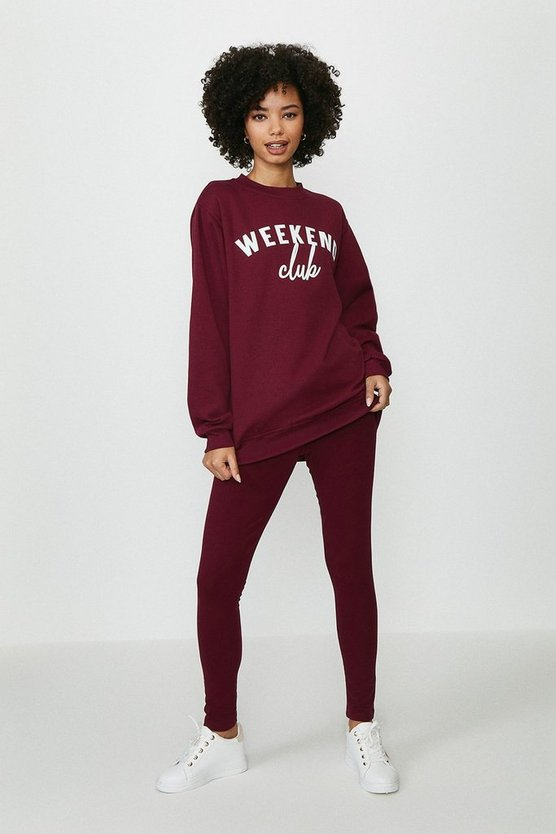 Plum Weekend Club Sweater And Legging Set