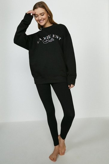 Black La Vie Est Belle Sweater and Legging Set