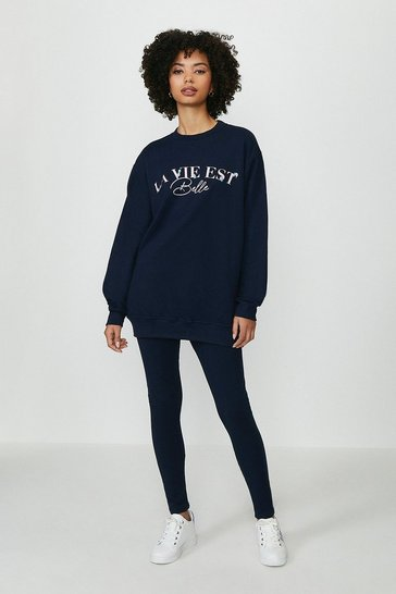 Navy La Vie Est Belle Sweater and Legging Set