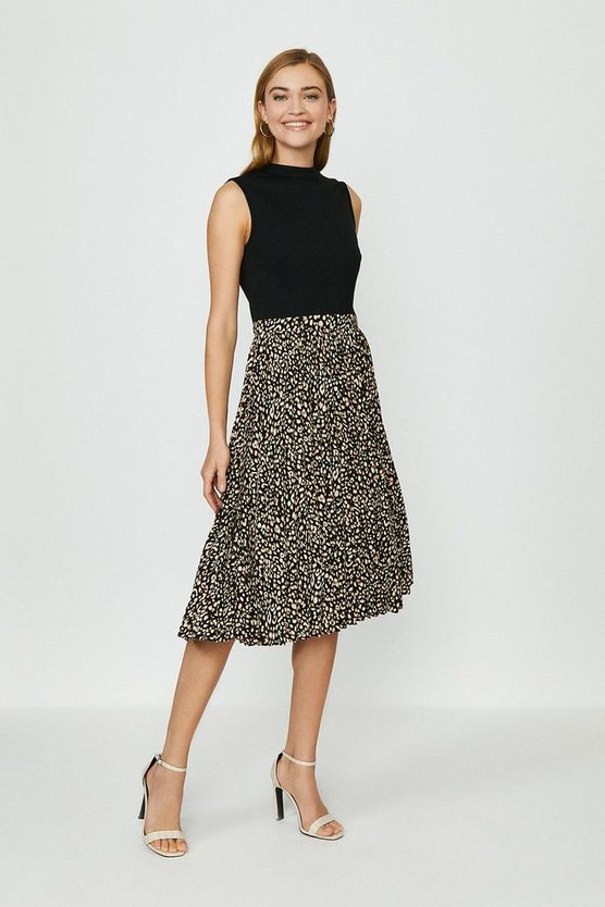 Animal Printed Pleat Midi Dress