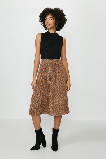 Geo Printed Pleat Midi Dress
