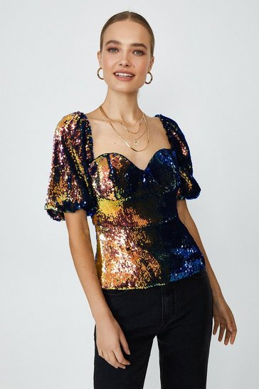 Multi Sequin Puff Shoulder Cupped Top