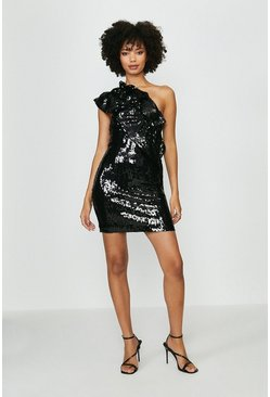 Black Sequin Embellished One Shoulder Mini Dress