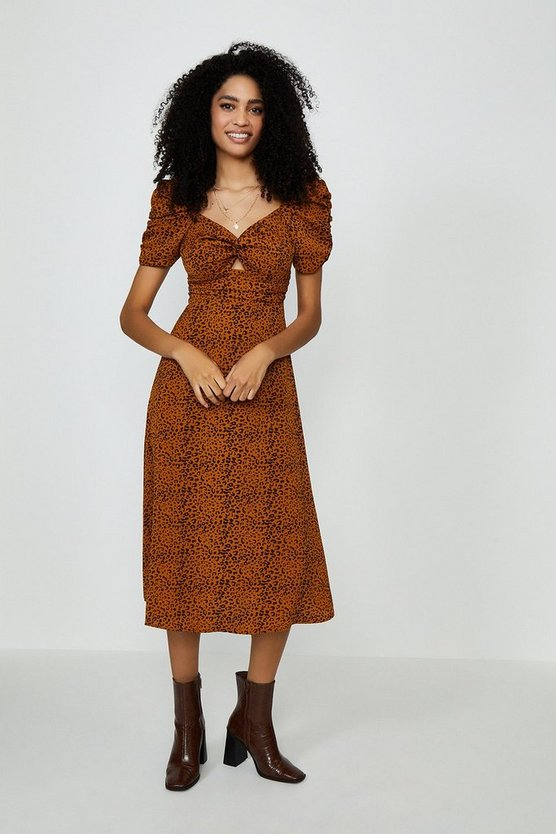 Animal Puff Sleeve Midi Dress