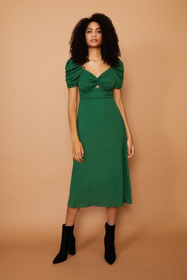 Forest Puff Sleeve Midi Dress