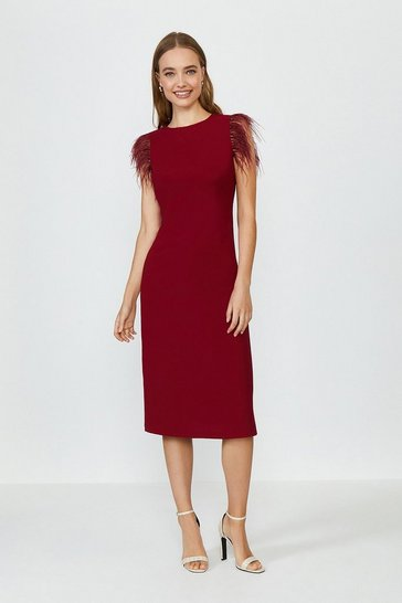 Berry Feather Detail Midi Satin Dress