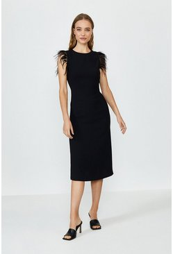 Black Feather Detail Midi Satin Dress