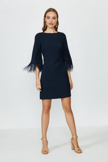 Navy Feather Detail Long Sleeve Satin Dress