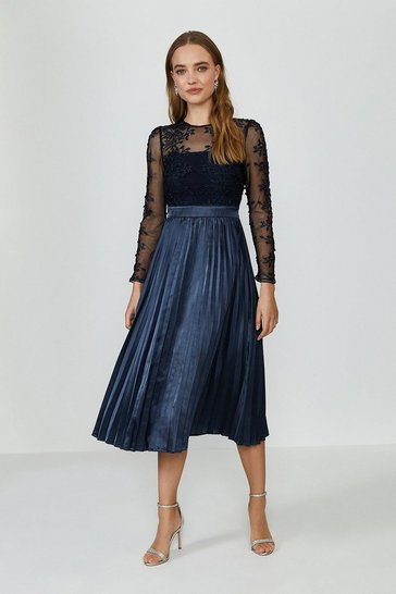 Navy Lace Tiered Midi Dress