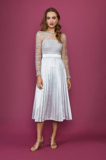Silver Lace Tiered Midi Dress