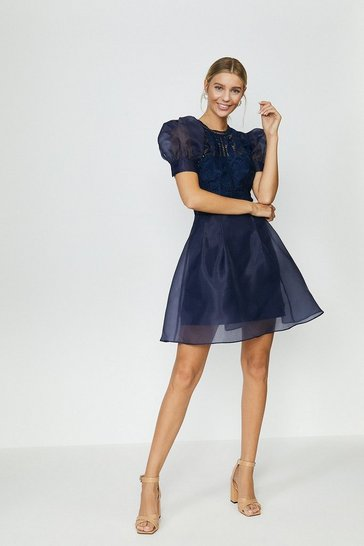 Navy Organza Puff Sleeve Mini Dress