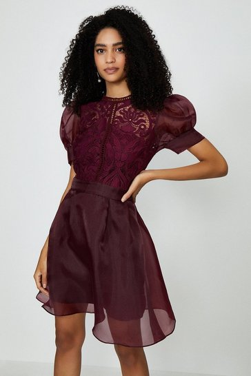 Plum Organza Puff Sleeve Mini Dress
