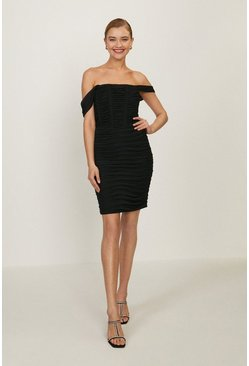 Black Bardot Ruched Bodycon Midi Dress