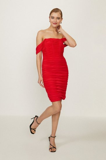 Red Bardot Ruched Bodycon Midi Dress