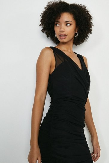 Black Ruched Wrap Front Bodycon Midi Dress