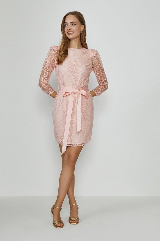Blush Lace Tie Waist Long Sleeve Mini Dress