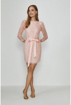 Blush Lace Tie Waist Long Sleeve Mini Drss