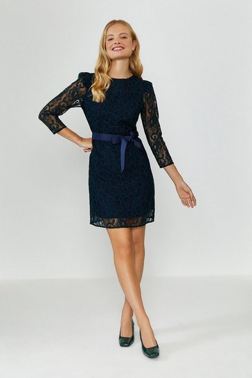 Navy Lace Tie Waist Long Sleeve Mini Dress